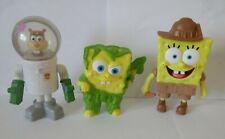 Lot of 3 Burger King Spongebob toys 2 Spongebobs & a Sandy Cheeks