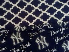 New York Yankees Lightweight Scarf Summer Cotton Quatrefoil Pretty Blue Infinity