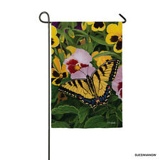 Garden Satin Butterfly & Pansies Flag Evergreen Presents Friend Reflections