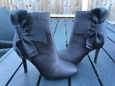 M&S Insoles Ankle boots Size 5, Elegant Black Satin With Bow Evening Boots