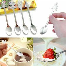 4Pcs/set Mini Christmas Stainless Steel Coffee Tea Kids Spoon Teaspoon Tableware