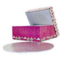 """GRANDE Rosa Cupcake Design Torta BOX 10"""" ROUND Board Accessorio da forno decorazione"""
