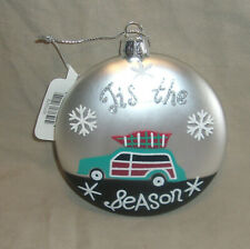 Cypress glass disc Christmas ornament Tis The Season with Woodie Station Wagon