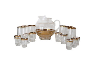 Vtg 60s Mid Century Modern 17 Piece Gold Rimmed Striped Drinking Glasses Pitcher