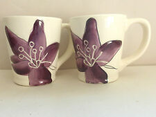 Laurie Gates ANNE PLUM Coffee Mug(s) Cup(s) White w/Purple Flower Floral Lot 2