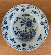 """Rare Early English Delft Tin Glazed 9"""" Dish With Chinoiserie Decoration 18th C"""