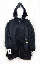 VTG Deconstructed Boxy OILILY NYLON JACKET * Coat Lined Hood Layers Poncho Sz M
