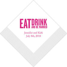 300 Eat Drink Be Married Block Personalized Printed Wedding Cocktail Napkins