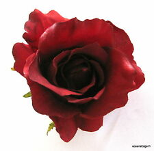 """3"""" Rich Red,Poly Silk Rose Flower Hair Clip,Pin Up,Updo,Hat,Rockabilly"""