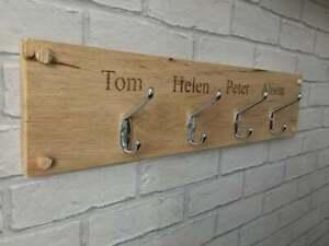 Personalised Oak Coat Hook Hanger Family Engraved Solid Wood Gift Plaque Name