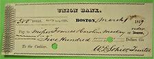 Bank Check, Boston, Union Bank, 1849, counterfoil.