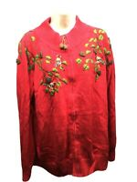 Coldwater Creek Sweater 3X Wool Red Embroidered Zip Cardigan Birds Pine Cones