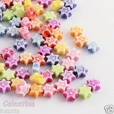 100 8mm Stars SMILEY FACE Beads - Mixed COLOURS - Acrylic Pony Beads -  PB52