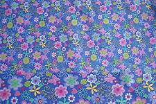 2 Yards Purple Background with Colored Flowers