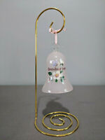 Grandmother Bell Pink Glass With Flowers & Butterfly On Gold Metal Display Stand