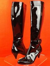 NIB MARC JACOBS BLACK PATENT LEATHER BUCKLE HIGH KNEE HEEL BOOTS 37.5 ITALY