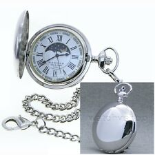 Silver Antique Sun & Moon Quartz Mens Pocket Watch with Chain Gift Box P50PR