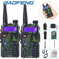 2 x Baofeng UV-5R Dual Band UHF/VHF Radio RF 5W FM Ham 2 Way Radio Walkie Talkie