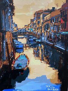 Quadro acrilico su tela dipinto a mano Venezia