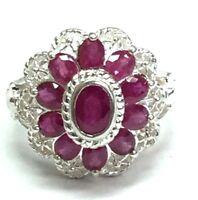 Sterling Silver Pink Tourmaline Openwork Cable Twist Halo Flower Cocktail Ring