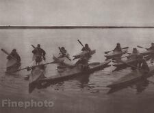 1900/72 Photo Gravure INDIAN ESKIMO Noatak Kayaks Paddle Art EDWARD CURTIS 11x14