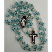 Damascene Silver Rosary Crucifix Virgin Mary Teal Beads by Midas of Toledo Spain