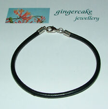 BLACK LEATHER WRISTBAND BRACELET SILVER PLATED TRIGGER CLASP 18CM SMALL