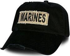 "USMC Marine Corps Cap ""MARINES"" Applique Frayed Khaki Fabric w Screen Print"