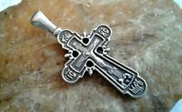 "VINTAGE STERLING SILVER 925 ORTHODOX ORNATE ""SKULL"" CRUCIFIX ""SAVE and PROTECT"""