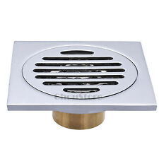 "Square Brass Bathroom Floor Drain Silver 4"" Deodorization Shower Drainer Grate"
