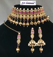 Gold & pearl pink choker necklace jhumka earring tikka indian pakistani Jewels