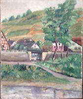 ::SCHMITZ 1928 KLINGENBERG AM NECKAR WEINBERGE ÖLGEMÄLDE ANTIK °SOMMERTAG SIGN.