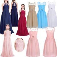 Kids Girls Halter Chiffon Long Party Dress Junior Wedding Evening Prom Maxi Gown