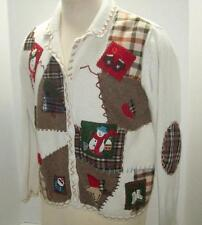 UGLY CHRISTMAS Sweater STUDIO JOY CARDIGAN CARDI  Country Patchwork Xmas Icons M