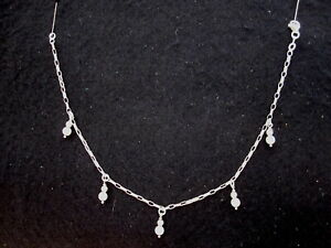 ITALIAN STERLING SILVER ANKLET WITH WHITE BEADS