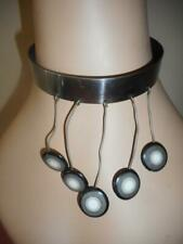 Vtg MCM stainless steel  choker cuff necklace w/ wire & enamel circle dangles