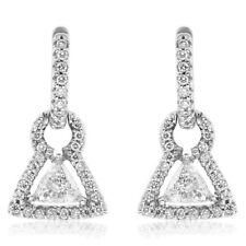 14K WHITE GOLD 1.10C TRILLION & PAVE ROUND DIAMOND DANGLE EARRINGS