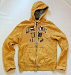 Abercrombie & Fitch Sweat Jacke Zip Hoodie Gr. L TOP gefüttert Gelb in USED LOOK