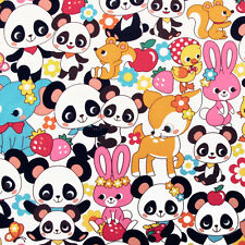 """1 yard 28 inches COSMO """"PANDA AND FRIENDS"""" Multi Oxford made in Japan"""