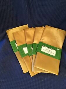 """5 Packs of GOLD Polyester 18"""" Cloth Dinner Napkins  (5 packs of 2)  Total of 10"""