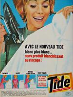 PUBLICITÉ DE PRESSE 1963 LESSIVE TIDE NOUVELLE FORMULE - FER