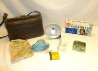 Vintage Camera Bag Kodak Color Guard Filter Duaflex Flash and 5b Bulb Lot