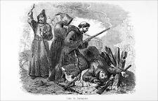 SIÈGE de SARAGOSSE: MOINES ESPAGNOLS résistants à NAPOLÉON 1er - Gravure 19eme