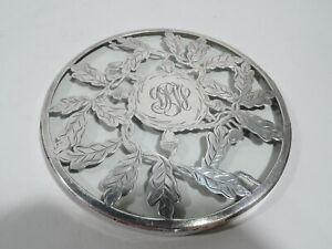 Antique Trivet - Art Nouveau Acorn Oak Leaf - American Glass Silver Overlay