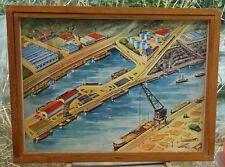 ancienne affiche scolaire rossignol géographie, le port de mer, fluvial