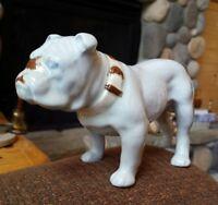 """Vintage Mid Century Bulldog Figurine Porcelain Painted Pug Dog Glazed 7"""" Figure"""