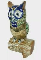 Mexican Folk Art Pottery Hand Painted Owl Bird Figurine Brass Ceramic Mexico