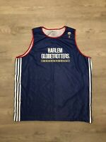 Harlem Globetrotters Blue Basketball Jersey White Stripes Mens Sz XL