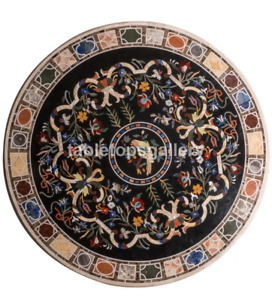 """42"""" Marble Dining Table Top Pietra Dura Marquetry Inlay Restaurant Decorate B297"""