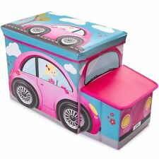 Large Kids Clothes Storage Seat Bedroom Stool Toy Books Box Chest Girl Car Pink